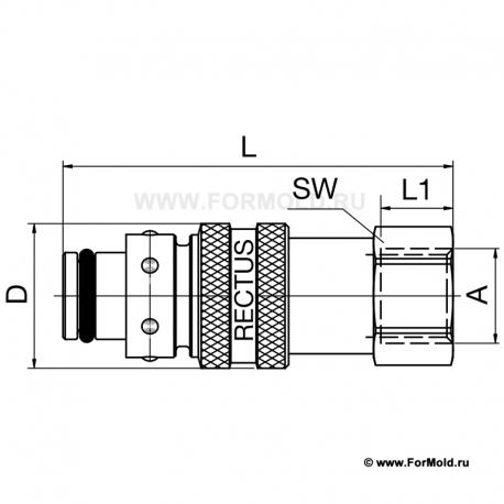 Ниппель, 2-10108-10714 (Rectus 608KFIW13MVN). Parker БРС для воды, БРС для охлаждения, Быстроразъемные соединения для воды
