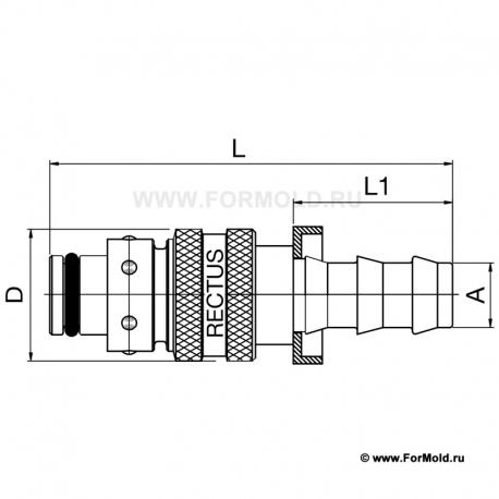 Ниппель, 2-10108-10013/HL (Rectus 608KFTP13MVN). Parker БРС для воды, БРС для охлаждения, Быстроразъемные соединения для воды